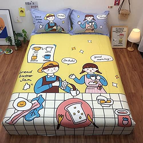 XGguo Protector de colchón Acolchado - Microfibra - Transpirable - Funda para colchon estira hasta Impresión de algodón de sábana de un Solo producto-10_180 * 200cm