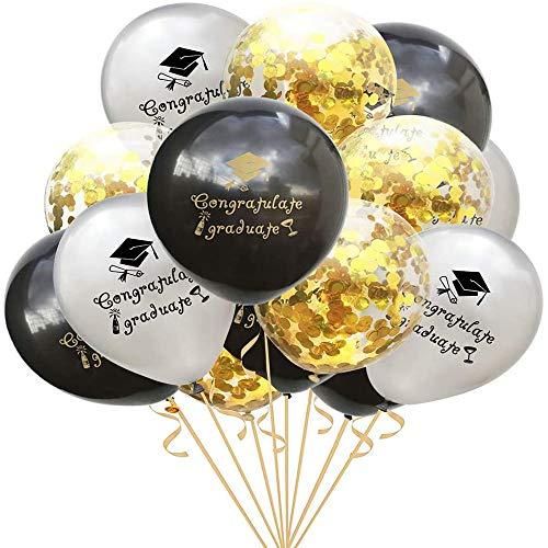 BinaryABC Graduation Sequins Confetti Balloons,Graduation Congratulate Graduate Letter Balloons, Graduation Party Decorations,15Pcs(Silver +Black +Gold Sequins)