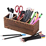 Pencil Pen Holder for Desk, Wood Pen Organizer, Desktop Pencil Holders with 4 Adjustable Compartments, Multi Purpose Use Pencil Cup Pot Desk Organizer