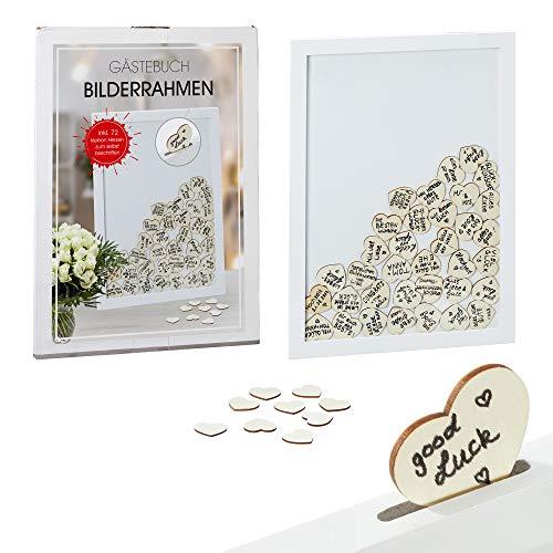 Cepewa Gästebuch zur Hochzeit: Rahmen der Erinnerungen - Enthält 72 Herzen aus Holz Natur