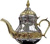 SL Tetera árabe realizada en Acero Inoxidable- Tetera con Filtro Integrado de 1.6ml y Manopla Auténtica Tradicional Modelo Grabado con Diseño Clásico Arabe Dorado (Dorado-1,6)