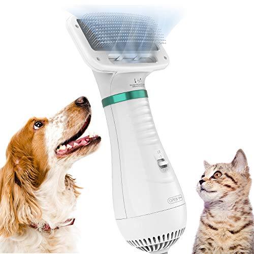 DADYPET Cepillo para Perros y Gatos, secador de Pelo para Perros y Gatos combinación de secador de Pelo y Cepillo Velocidad Ajustable Adecuado para Perros y Gatos pequeños y medianos (Blanco-Verde)