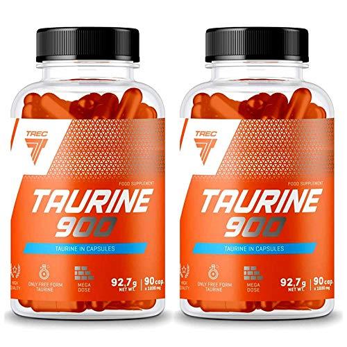 TREC TAURINE 900 | Anabólico y Anticatabólico | Crecimiento y recuperación muscular | Suplemento alimenticio (180 cápsulas - 2 botellas)