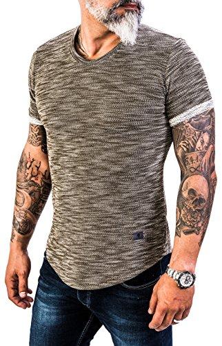 Rock Creek Herren Designer T-Shirt Rundhals Ausschnitt Kurzarm Oversize Shirt Sommershirt Slim Fit Sweatshirt H-151 M Olive