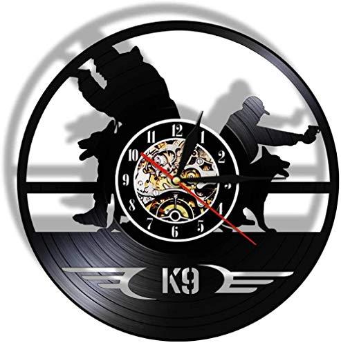 ZZLLL Reloj de Pared con Disco de Vinilo de diseño Moderno K9 policía policía y Perro del ejército decoración Reloj de Pared decoración Creativa de la habitación