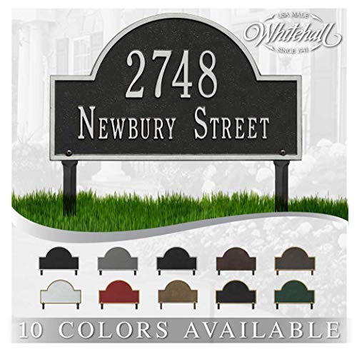 Personalized Cast Metal Address plaque - Lawn Mounted Arch Plaque. Display Your Address and Street Name. Custom House Number Sign.
