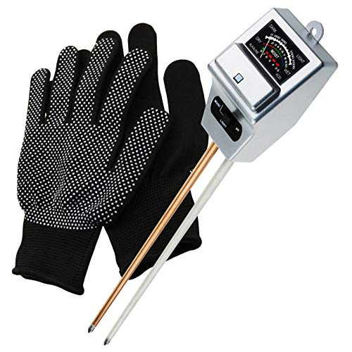 Soil pH, Moisture & Light Meter 3 Way Tester Kit (Silver, FREE Gloves), Gardening Acidity Probe Test Tool Plants Watering Quality Monitoring Checker for Garden Farm Lawn Household Indoor Outdoor