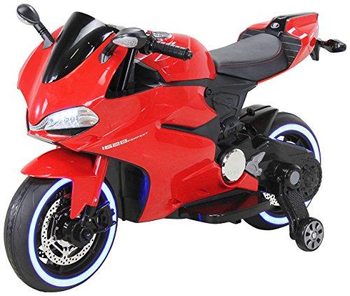 Actionbikes Motors Kinder Elektromotorrad 1299SS - Led Beleuchtung - Stützräder - Softstart - Multimedia - Elektro Motorrad für Kinder ab 3 Jahre (Rot)