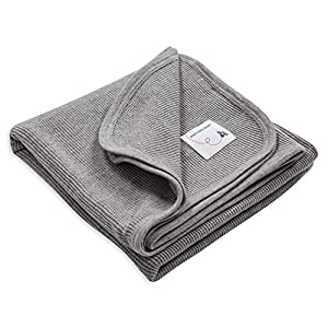 Burt's Bees Baby – Receiving Blanket, 100% Organic Cotton Swaddle, Stroller or Tummy Time Blanket (Heather Grey)