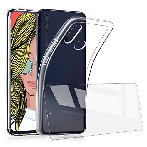 UCMDA Cover per Huawei P Smart Z + Pellicola Protettiva in Vetro Temperato, Custodia Trasparente Morbida in Silicone, Pellicola Protezione Schermo in Vetro Temperato per Huawei P Smart Z