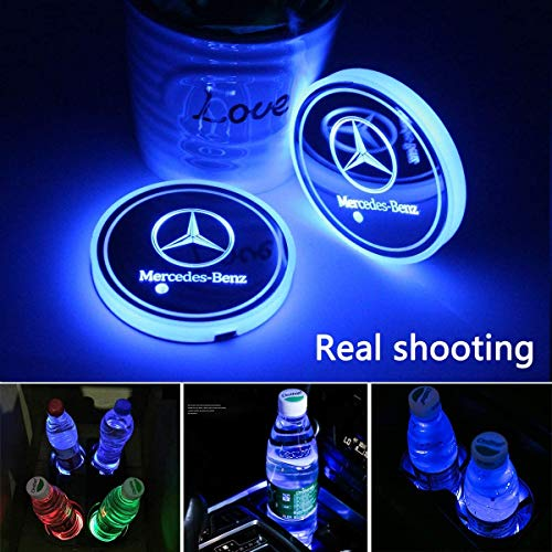 License plate frameX 2pcs LED Cup Holder Lights for Mercedes Benz,7 Colors Changing USB Charging Mat Luminescent Cup Pad,LED Interior Atmosphere Lamp (Mercedes Benz)