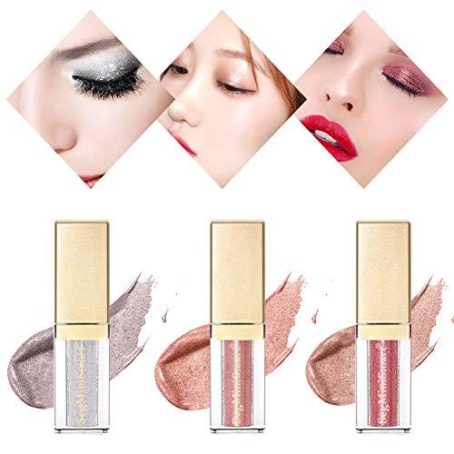 Glitter Eyeliner, Liquid Eyeshadow, Flüssig Glitter Eyeliner Lidschatten Wasserfest Langanhaltend Metallic Shiny Augen Make-up (3 Colors)