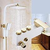 THQC Grifo de la Ducha de baño Blanco Ducha de la precipitación del Grifo de Agua Caliente y fría Lluvia Dorada Mezclador...