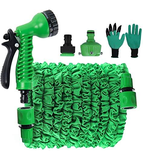 Bnvdfre - Manguera de jardín flexible, 30 m, flexible, flexible, con 8 funciones para el lavado de coches, riego de jardín
