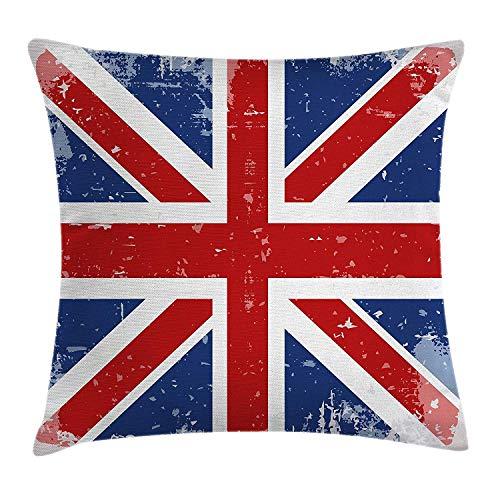 federe Fodera per Cuscino British Throw Pillow, Abstract England London Flag Old Vintage Like Print con Stampa Ombra, Federa Decorativa con Accento Quadrato, Red Navy Blue e White 16 * 16 Pollici
