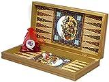 Yenigun 20' Persian Pattern Laminated Compressed Wood Checkers Backgammon Set