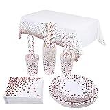 Topways® Polka Roségold Dot Partyzubehör Pappteller Set, Einweg Papier Geschirr Set einschließlich Tischdecke Teller Becher Strohhalme Servietten zum Geburtstag, Hochzeiten, Jubiläums (16 Gäste)