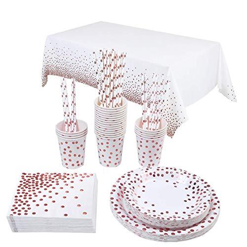Topways® Platos Desechables Kit para Mesa de Fiesta para 16 Personas, Accesorio de Decoración Fiesta de Cumpleaños Utensilios para Celebración–Mantel,Platos,Vasos,Servilletas y Pajitas (Polka Dot)