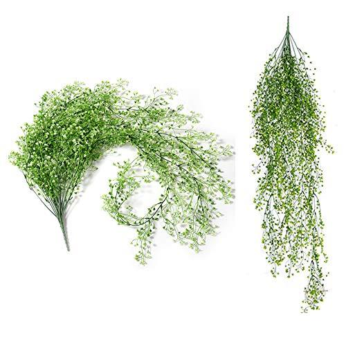 Fellibay Künstliche Hängepflanzen, dekorative künstliche Pflanzen, für den Außenbereich, 2 Stück, Weiß Grün & Gelb, 31.50inch