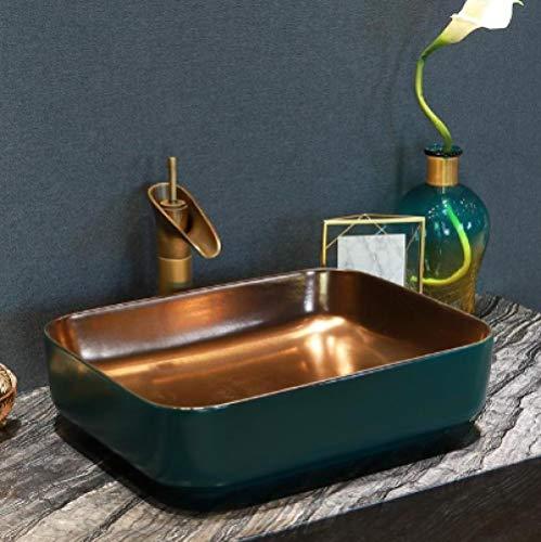YYZD Lavabo de cerámica Lavabo de cerámica ovalado para baño, encimera de cerámica, lavabo de porcelana esmaltada, recipiente para lavabo, lavabo, baño dorado con juego azul