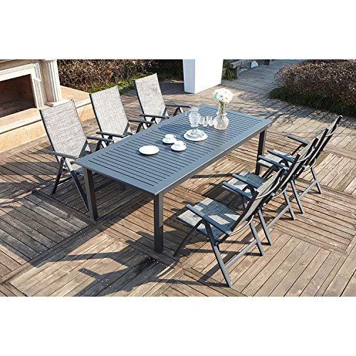 JFB Le Merry : Salon de Jardin Table Extensible et 6 chaises en Aluminium