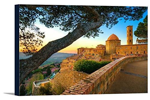 Tuscany, Italy - Volterra Town Skyline with Church & Trees at Sunset 9019984 (18x12 Gallery Wrapped Stretched Canvas)