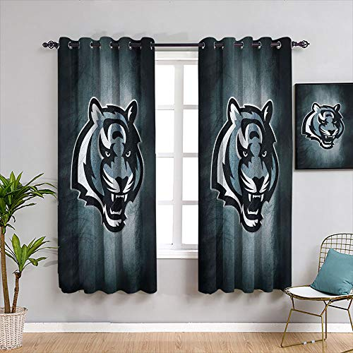 Blackout Curtains for Bedroom American Tootball Team Cinc-innati Beng-als Backout Curtain Set Resistant Polyester Fabric Blackout Window Curtain W42 x L45