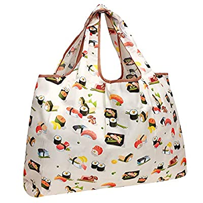 allydrew Large Foldable Tote Nylon Reusable Grocery Bag, Sushi