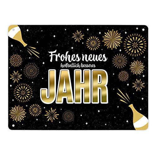 trendaffe - Frohes neues hoffentlich besseres Jahr Metallschild XL mit Feuerwerk und Sekt Motiv