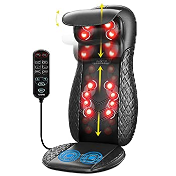 Back Massager with Heat RENPHO Chair Massage Pad Shiatsu and Rolling Back and Neck Massager for Chair Massage Cushion with Heat Height Adjustable Massage Seat for Shoulders Full Body