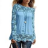 Levifun Mujer Polyester Ajustado Blusa Moda Patchwork Casual para Mujer Costura De Leopardo O-Neck Manga Larga Camiseta Tops Otoño e Invierno Tallas Grandes