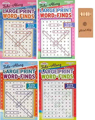 Word Find Puzzle Books For Adults Pack of 4 Large Print Puzzles (titles may vary)