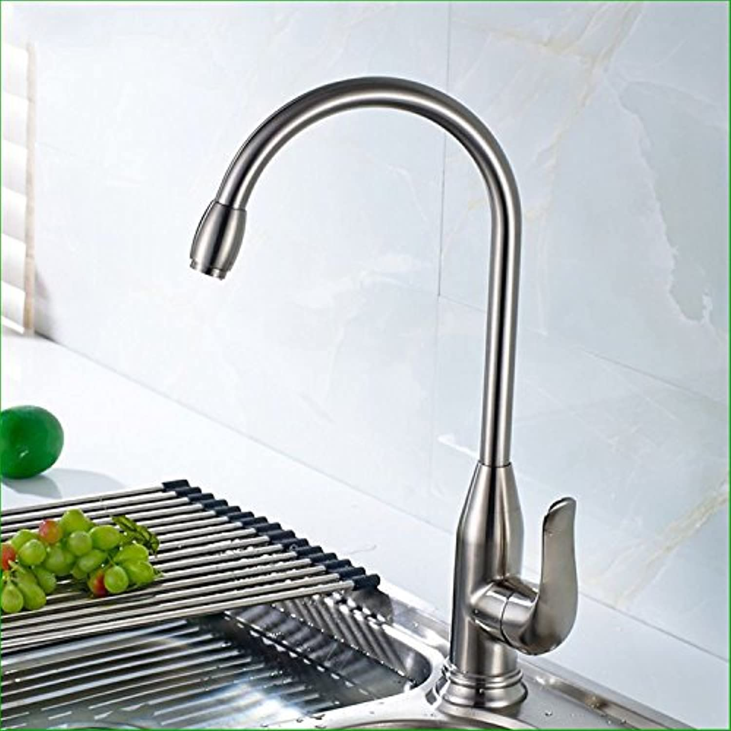 Commercial Single Lever Pull Down Kitchen Sink Faucet Brass Constructed Polished 304 Stainless Steel Single Handle Single Hole Hot and Cold Water Faucet redatable Kitchen Sink Sink Faucet