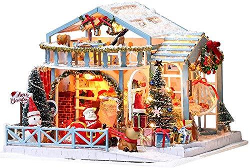 Feeyond Casa En Miniatura De Navidad Hazlo Tú Mismo Haz Tu Propio Kit De Casa De Muñecas Modelo Creativo Hecho A Mano De Madera En 3D De Navidad De La Noche De Navidad Nevada