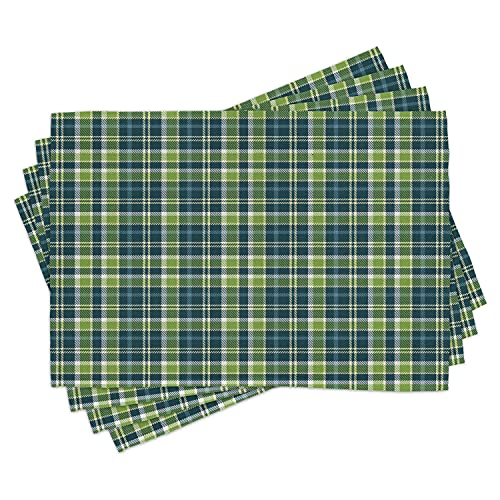 Lunarable Plaid Place Mats Set of 4, Celtic Culture Inspirations with Folkloric Old Fashioned Pattern, Washable Fabric Placemats for Dining Room Kitchen Table Decor, Dark Blue Pale Yellow Green