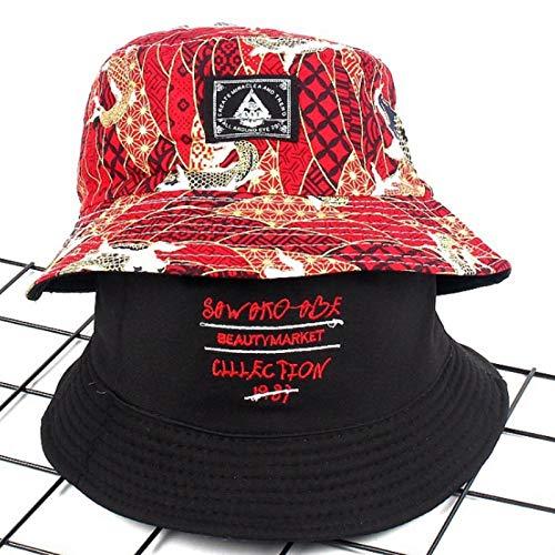 Bucket Hat Chapeau Imprimé Réversible Pêche Chapeau De Soleil Casquette Décontracté Deux Côtés Porter Unisexe Chapeau De Seau Coton Pêcheurs Panama Hommes Chapeau De Soleil Adultize Redblack