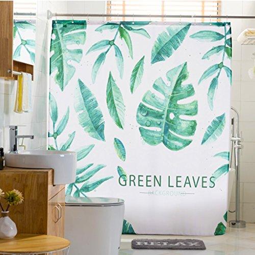 Xin Yu Yue Firm Green Leaves Shower Rideau imprimé numérique Tissu en Polyester Rideau de Salle de Bains étanche et moisissure (Taille: 180 * 180cm) (Couleur : 180 * 200cm)