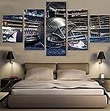 Thznmg Peintures Murales Impressions sur Toile 200X100 Cm/ 78.8'X 39.4'Impression HD 5 Pièces Toile Peinture Football Américain Casque De Rugby Sport Peinture Mur Photos pour Salon Affiche