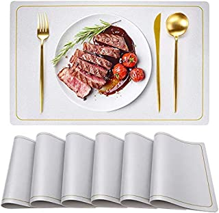 Placemats for Dining Table Set of 6, Faux Leather Placemats Wipeable Waterproof Non Slip Washable Table Mats Rectangle Ind...