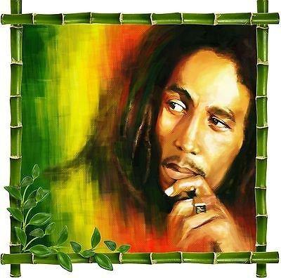 Stickersnews - Sticker mural déco bambou Zen Bob Marley réf 5212 Dimensions - 80x80cm