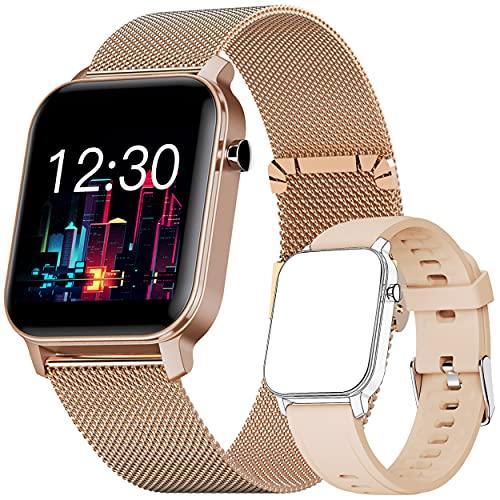 Reloj Inteligente, Smartwatch con Oxígeno Sanguíneo Presión Arterial Frecuencia Cardíaca, Pulsera Actividad Impermeable IP68 para Hombre Mujer para Android iOS (Gold)