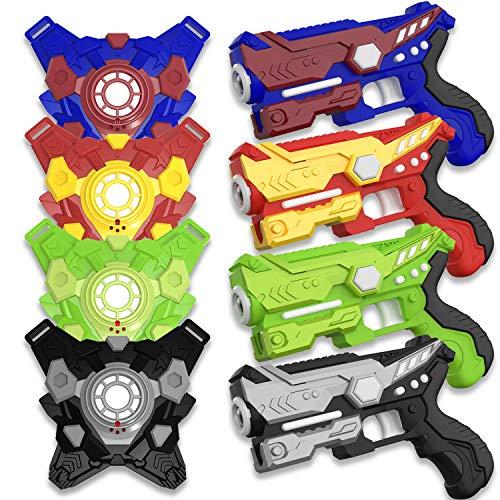 COFUNX Infrared Laser Tag Gun Set for Kids & Adults,Laser Tag Gun Toys with 4 Guns & 4 Vests & 24 Batteries,Maximum Shooting Range of 150 Feet Christmas & Birthday Gift