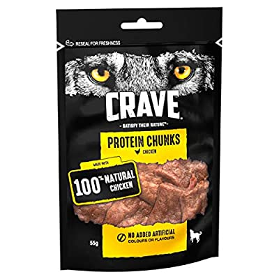 Crave Protein Chunks - High Protein, Grain Free Dog Treat with Chicken Flavour, 6 x 55 g Packs