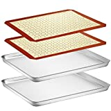 Baking Sheet with Silicone Mat Set, Yododo Set of 4 (2 Sheets + 2 Mats), Stainless Steel Cookie...