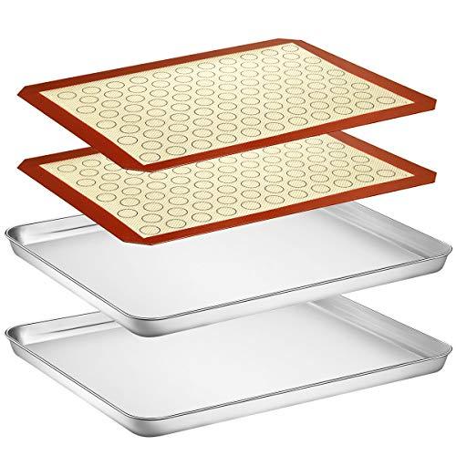 Baking Sheet with Silicone Mat Set, Yododo Set of 4 (2 sheet+ 2 mats), Stainless Steel Cookie Sheet Baking Pan with Silicone Baking Mat.