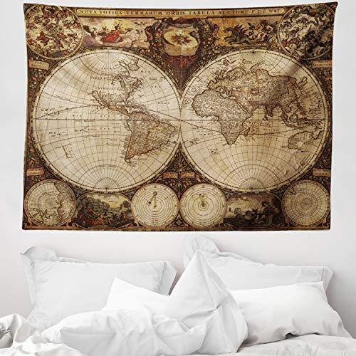 ABAKUHAUS Planisferio Tapiz de Pared y Cubrecama Suave, Viejo Planisferio 1720s Arte Estilo Nostálgico Atlas Histórico Diseño Vintage, Decoración para el Cuarto, 150 x 110 cm, Multicolor