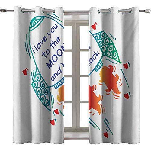 Opehodecor I Love You Blocking Draperies Cute Rocket Going to Space Galactic Motivation Up to Stars Happiness Print Nursery and Kids Bedroom Curtains 63 x 63 inch