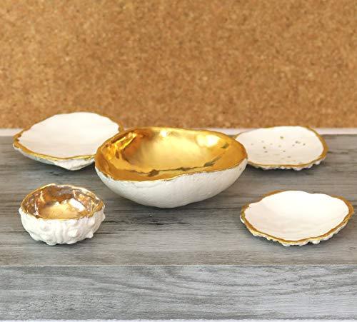 Keramunzel KERA-Mystic 3 Stück Kaviar Schale Auster mit 24 k Gold aus Porzellan naturell und elementar Handmade Nr: 005,006,007 handgemalt Kunstwerk von Rea Bien (Nr: 6)
