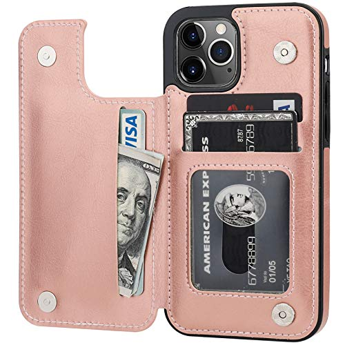 ONETOP Compatible with iPhone 12 Compatible with iPhone 12 Pro Wallet Case with Card Holder, PU Leather Kickstand Card Slots Case, Double Magnetic Clasp Durable Shockproof Cover 6.1 Inch(Rose Gold)
