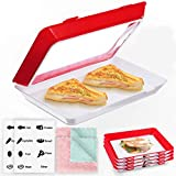 JOYXEON Food Preservation Tray (Pack of 2) Vacuum Preservation Tray Creative Food Tray with Elastic Lid for Vegetable Fruit Meat Fish Snack,Reusable, BPA free with 2 Dish Towels+1 Food Sticker